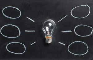 Lightbulb representing ideas and a mindmap